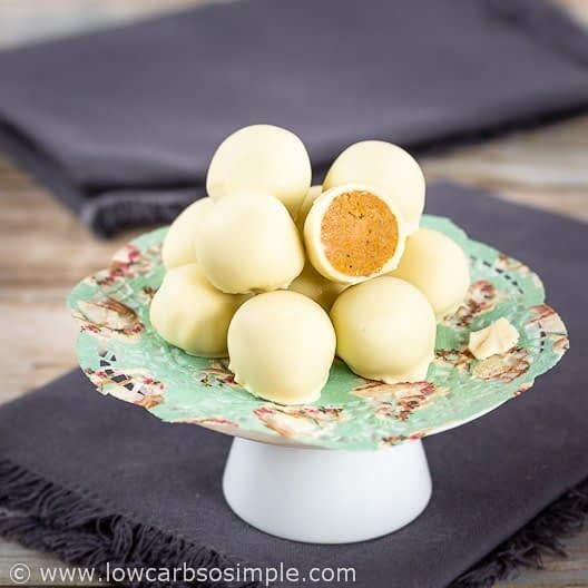 low carb pumpkin white chocolate truffles